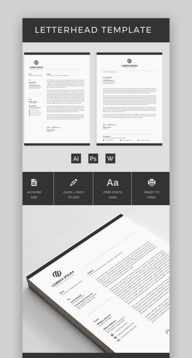 Letterhead Stationery Premium Template Design