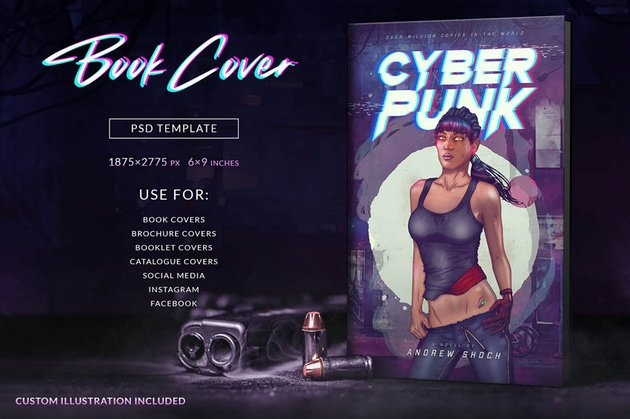 80s Book Cover Design Template Photoshop