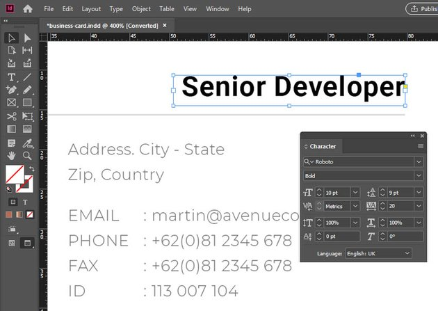Font Size InDesign