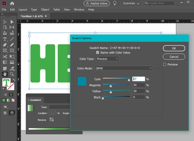 indesign color picker swatches