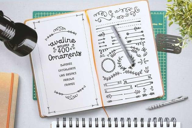 Avaline Ornaments Cricut Writing Fonts