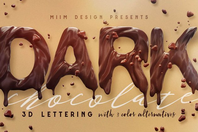 High Resolution Chocolate 3D Lettering