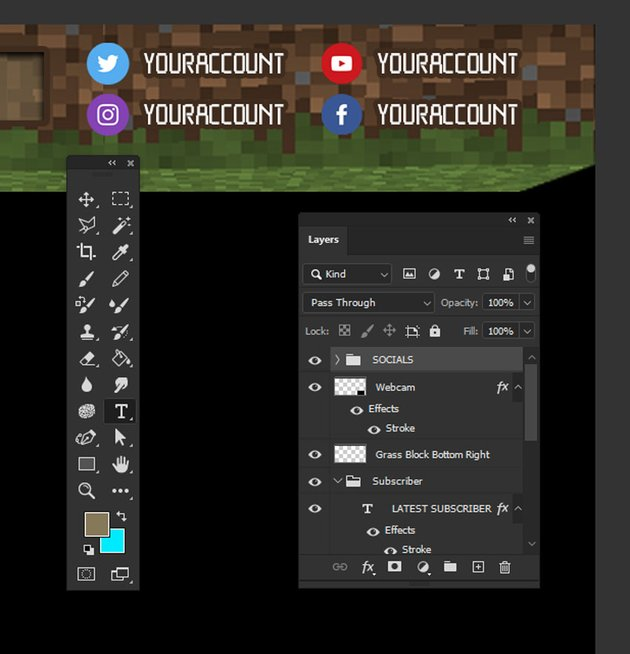 minecraft twitch overlay template social media