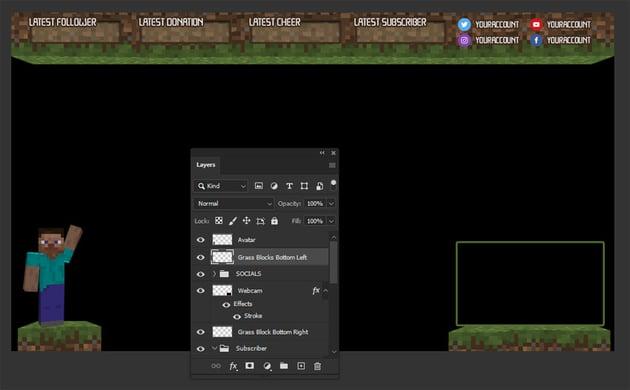 minecraft twitch overlay template