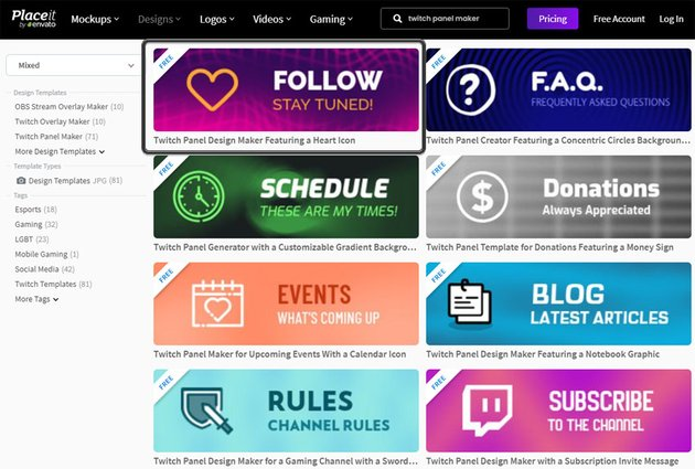 Online Twitch Panel Maker