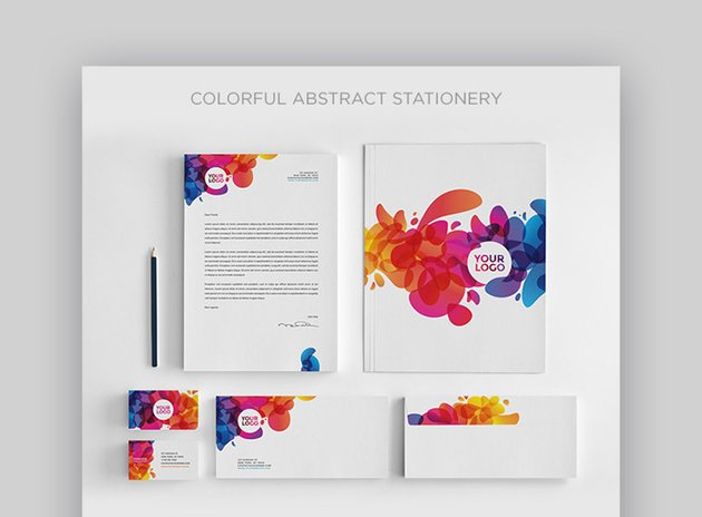Colorful Abstract Stationery Template Set