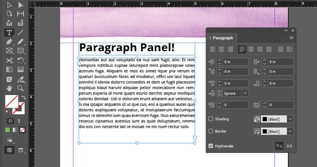 indesign paragraph panel