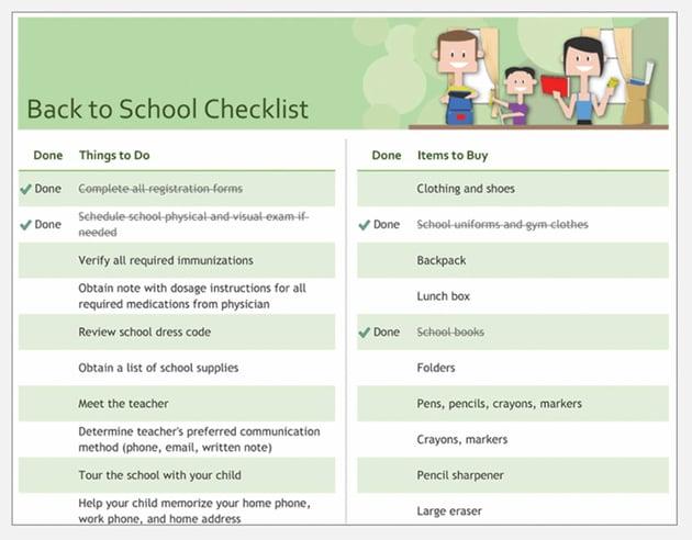 Back to School Microsoft Word Checklist Template