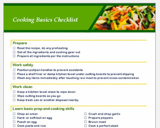Cooking Checklist for Microsoft Word