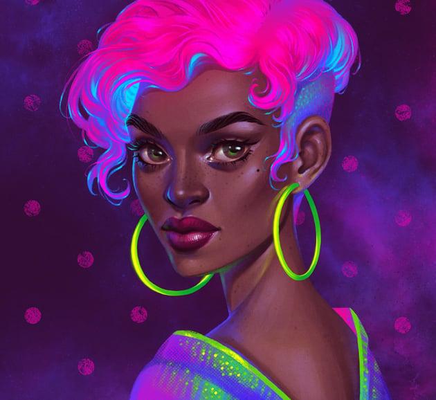Stylish Neon Portrait in Procreate