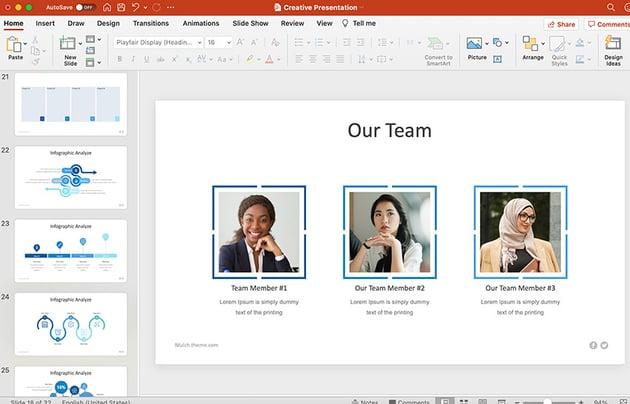 Team Slide in PowerPoint presentation