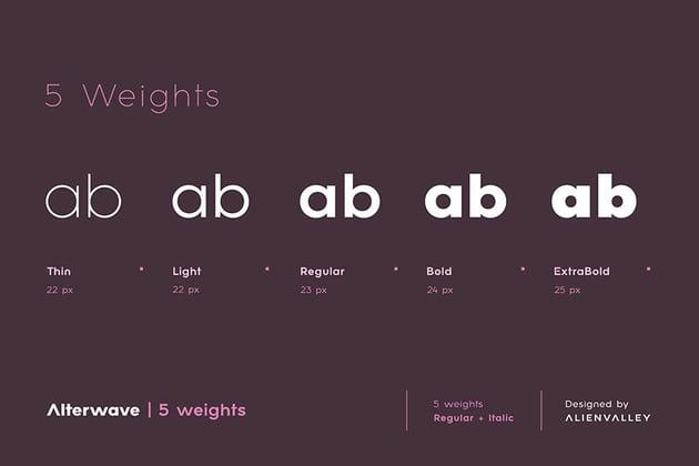 Alterwave sans serif font