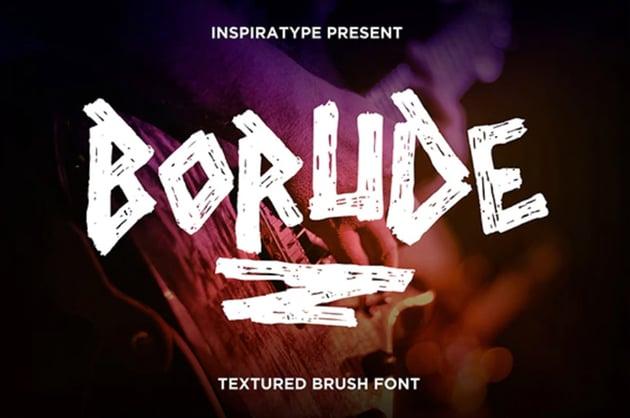 Borude - Textured Brush Font