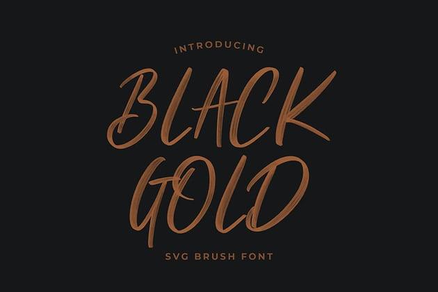 Black Gold Svg Brush Font