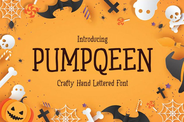 PUMPQEEN - Halloween Hand lettered Quirky Font