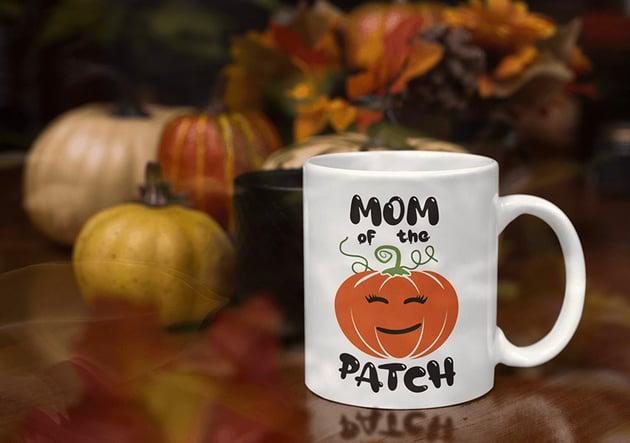 Mom Of The Patch Halloween Logo Retro Vector Badge