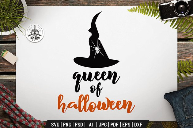 Queen Of Halloween Logo Retro Vector Vintage Badge