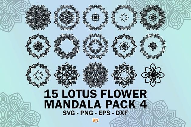 Lotus Flower Mandala Pack 4