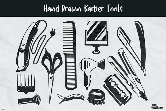 Hand Drawn Barber Tools