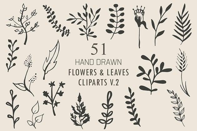 50+ Handmade Flowers & Leaves Cliparts V2