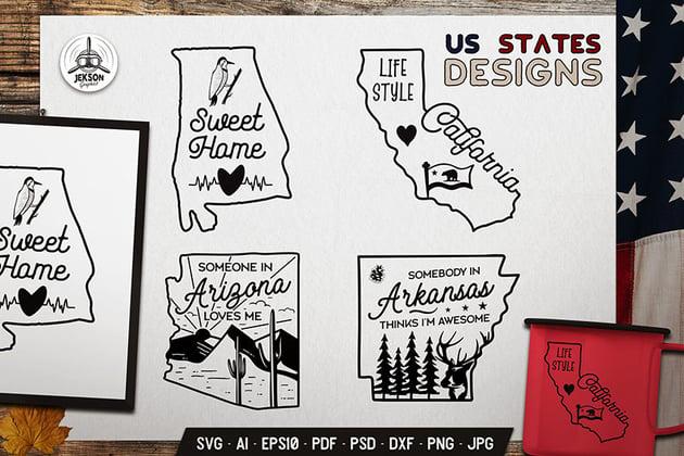 4 US States Vector Designs - California Arizona