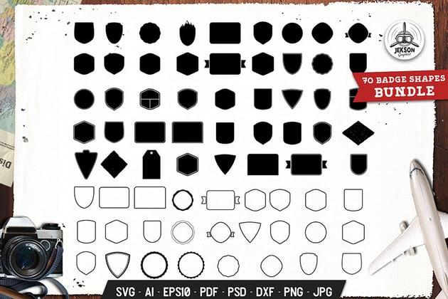 Badges Shapes Set Silhouette, Line Vector Graphic