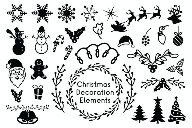Christmas Decoration Elements - Christmas Cliparts
