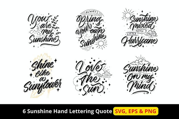 6 Sunshine Hand Lettering Quote