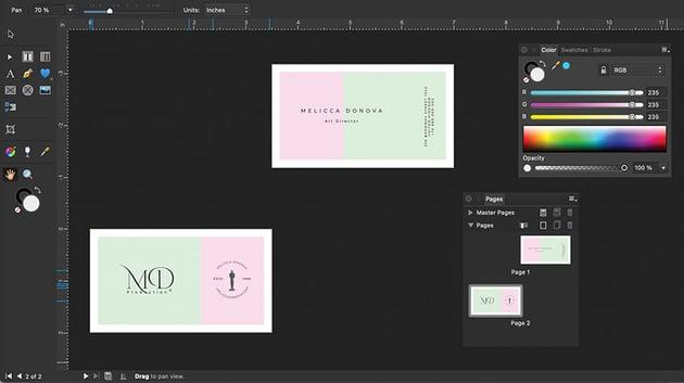 affinity designer customized workspace