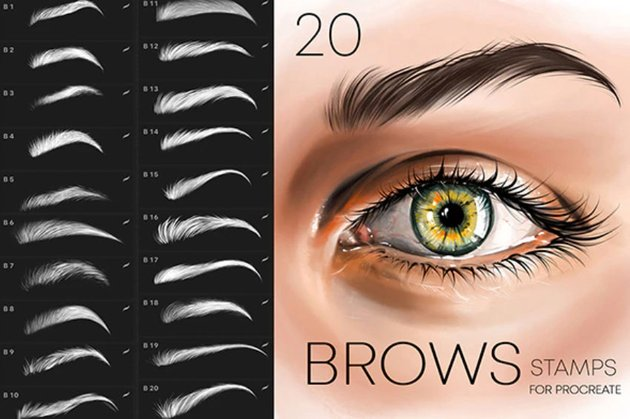 Procreate Brows Stamp Brushes Makeup