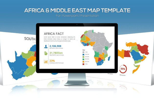 Africa & Middle East Maps for Powerpoint