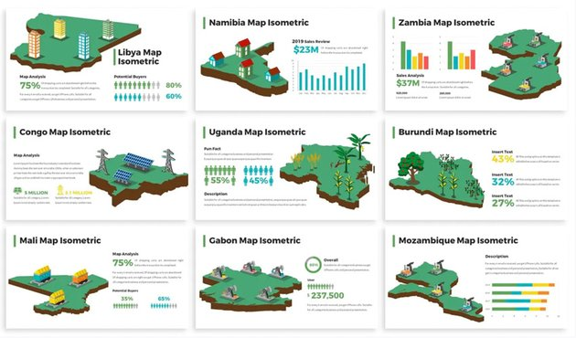 Africa Maps Isometric & Legends For Powerpoint