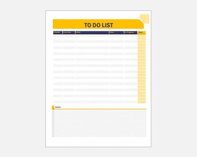 basic to do list template