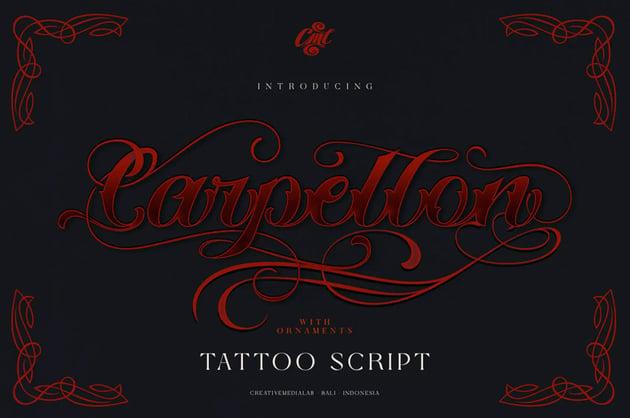 Carpellon Tattoo Script with Ornament (Popular Tattoo Script Fonts)