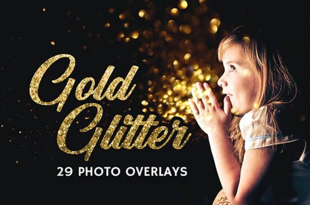 29 Gold Glitter Photo Overlays