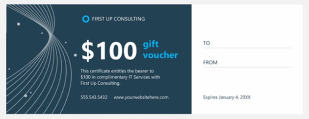 Technology business gift certificate