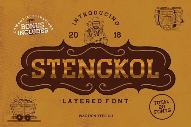 Stengkol Layered Font