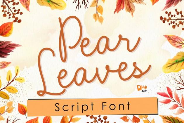 Pear Leaves Script Autumn Font