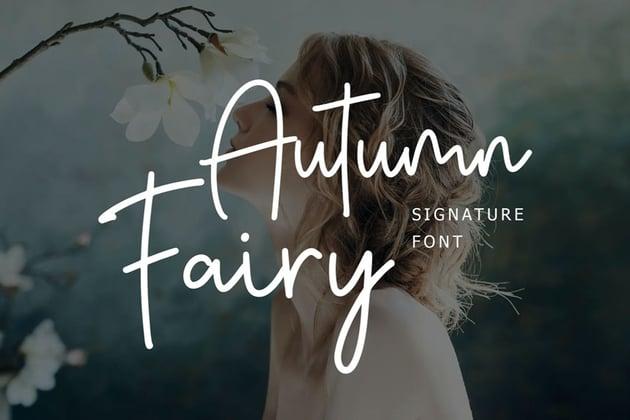Autumn Fairy Signature Monoline Script