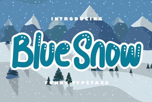 Blue Snow Winter Bubble Letters