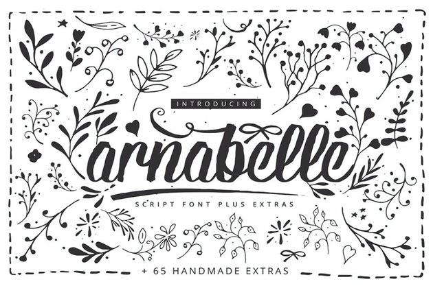Arnabelle Script Font with Floral Elements