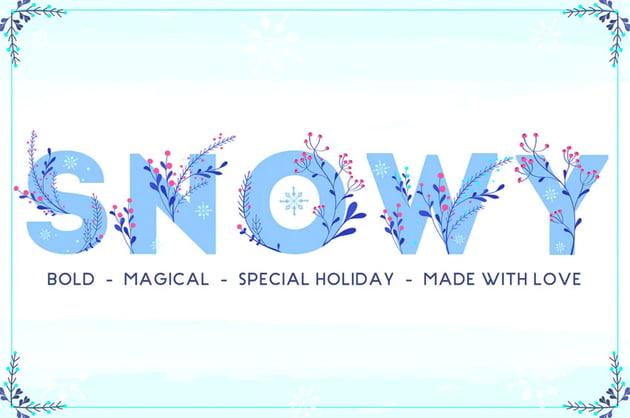 Snowy Floral Color Font