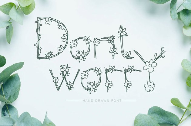 Dont Worry Hand Drawn Flower Font