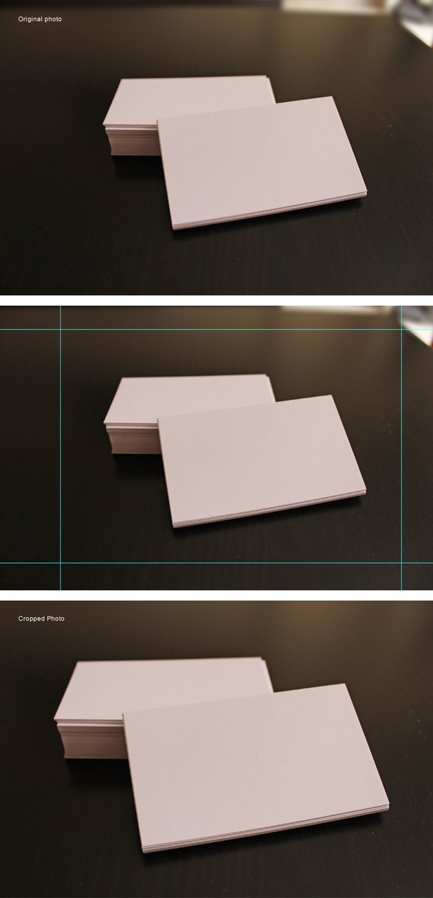 White Business Cards on dark brown table Cropping Process