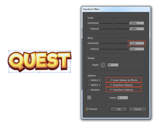 Again Transform Effect using Appearance Panel