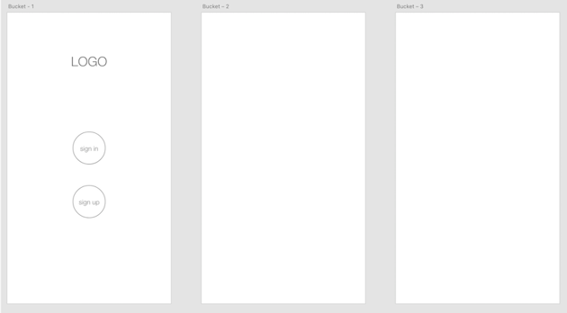 Wireframe for first screen Sign In