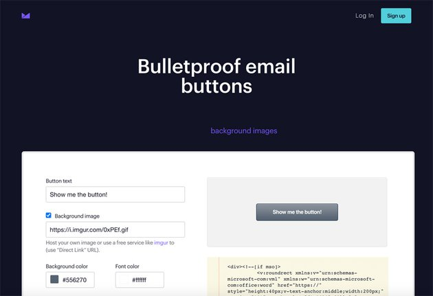 Campaign Monitor Bulletproof email buttons tool.