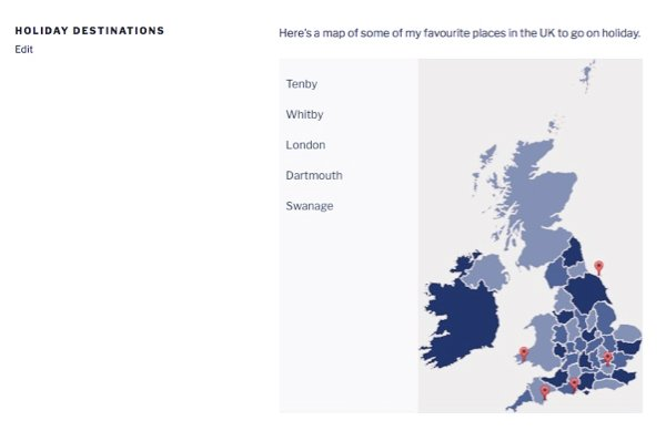 a map of the UK with markers on a page in the site