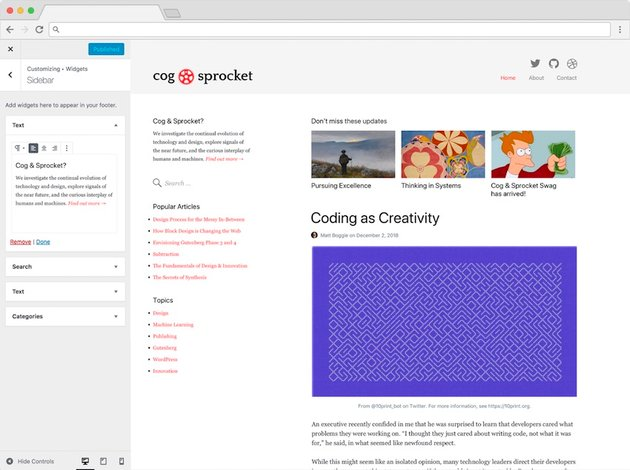 The proposed WordPress WYSISYG interface