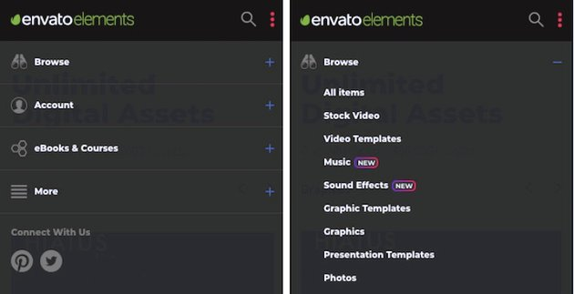 envato elements with menu dropped down back background white text Click on the  sign and a second level menu appears